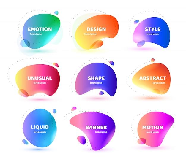 Set van moderne abstracte banner. vlakke geometrische kleurrijke vloeibare vorm. gekleurde ontwerpsjabloon van een logo, flyer, banner, presentatie. Premium Vector