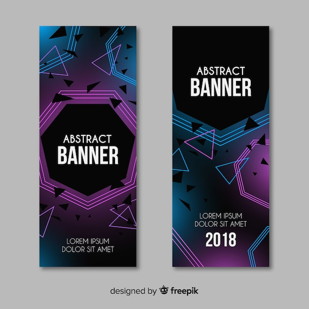Set van moderne banners met abstract ontwerp Gratis Vector