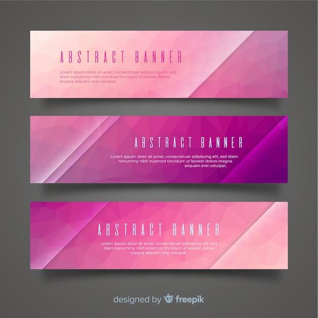 Set van moderne banners met abstract ontwerp Gratis Vector