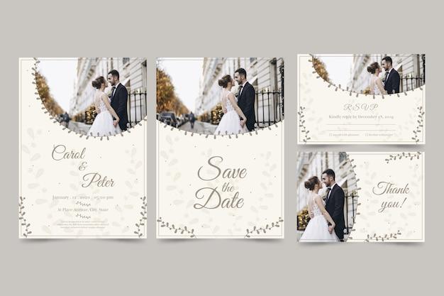 Set van moderne bruiloft uitnodiging met paar Gratis Vector