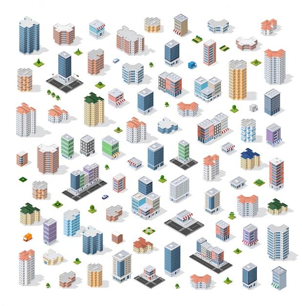 Set van moderne isometrische gebouwen Premium Vector
