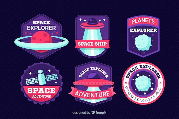 Set van moderne ruimtestickers Gratis Vector
