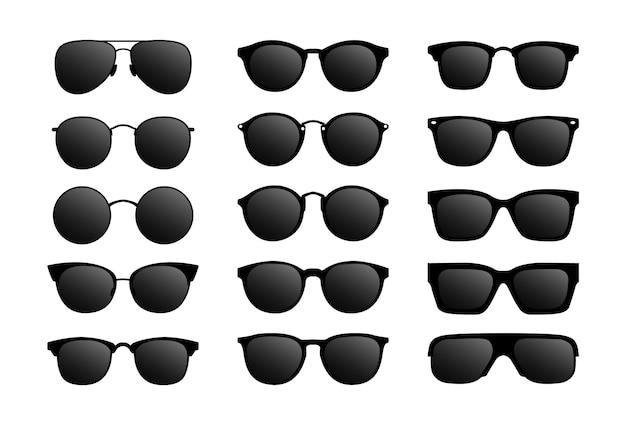 Set van moderne zonnebril. bril met zwart glas. Premium Vector