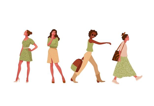 Set van modieuze meisjes lopen, staan, denken. Premium Vector
