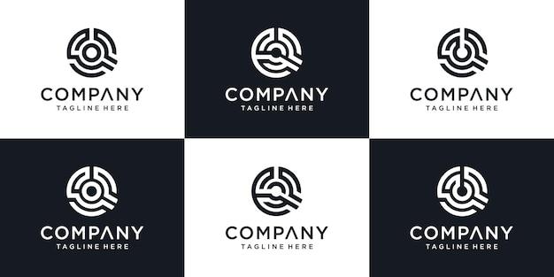 Set van monogram abstracte eerste letter q pictogram logo ontwerpsjabloon. Premium Vector