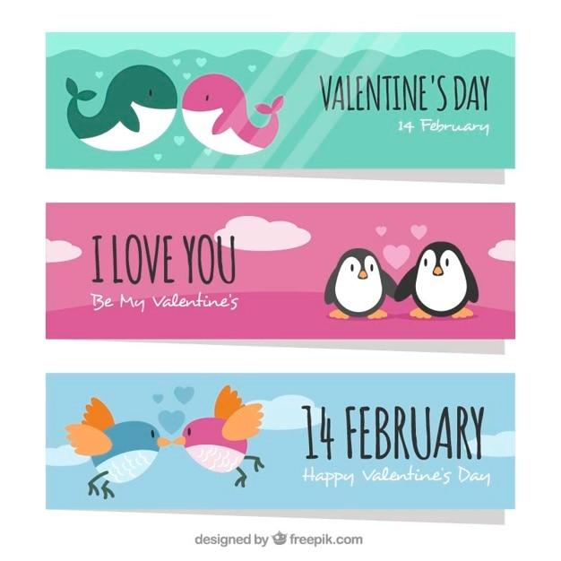 Set van mooie dier valentijn banners Gratis Vector