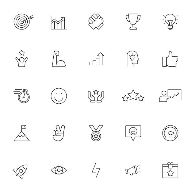 Set van motivatie pictogrammen met eenvoudige omtrek Premium Vector