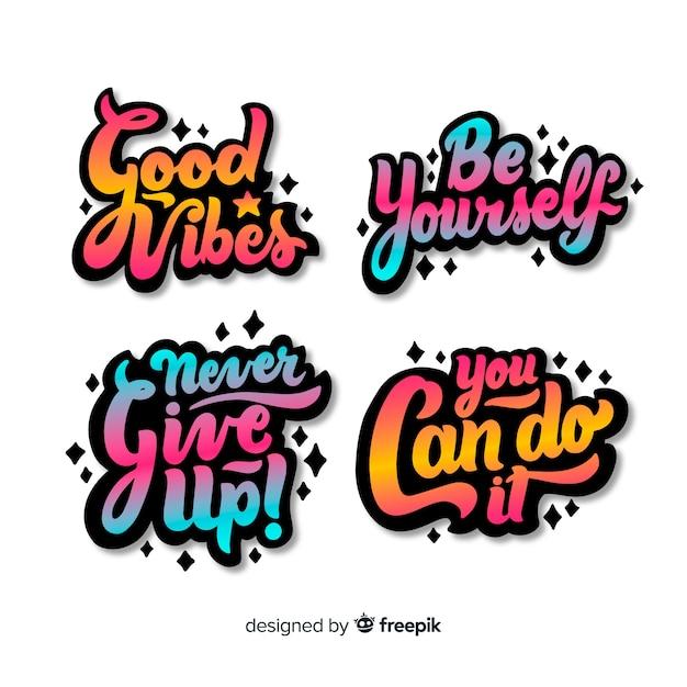 Set van motiverende belettering stickers Gratis Vector