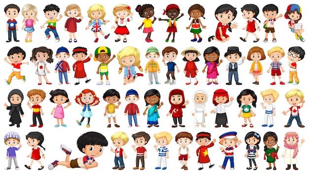 Set van multiculturele kinderen karakter Gratis Vector