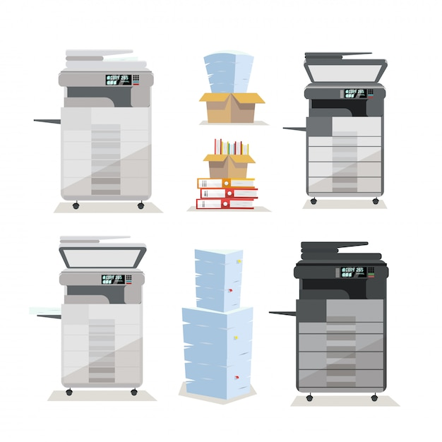 Set van multifunctionele copierprinterscanner op kantoorvloer in twee kleuren Premium Vector
