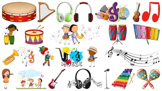 Set van muziekinstrumenten Gratis Vector