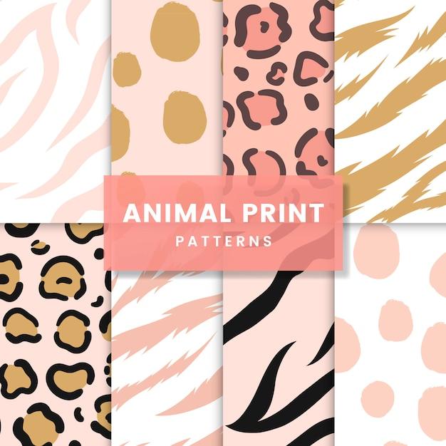 Set van naadloze dierenprint patroon vectoren Gratis Vector