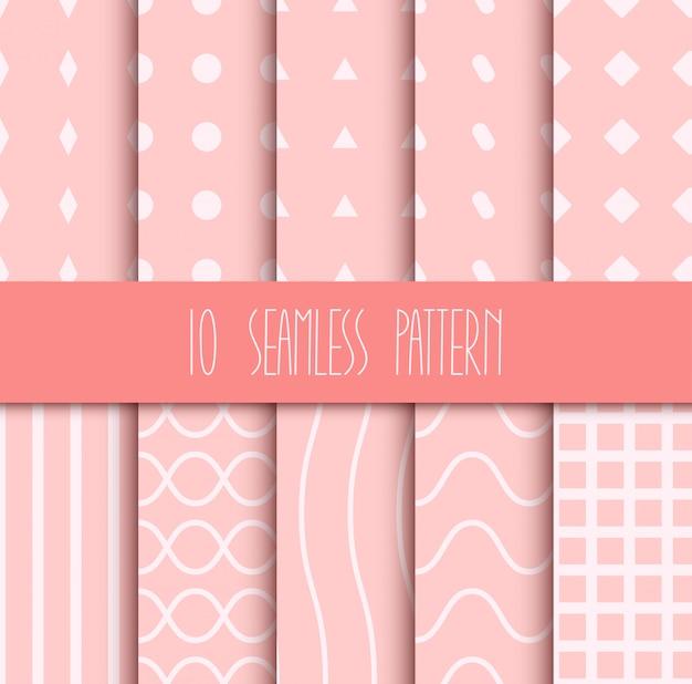 Set van naadloze geometrische patronen Premium Vector