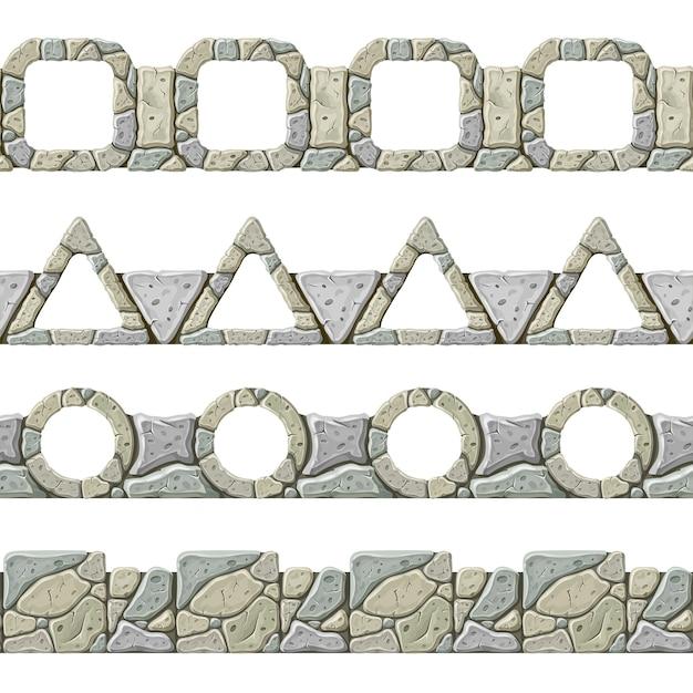 Set van naadloze oude grijze rand. Gratis Vector