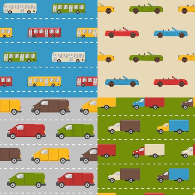 Set van naadloze patronen met auto's Premium Vector