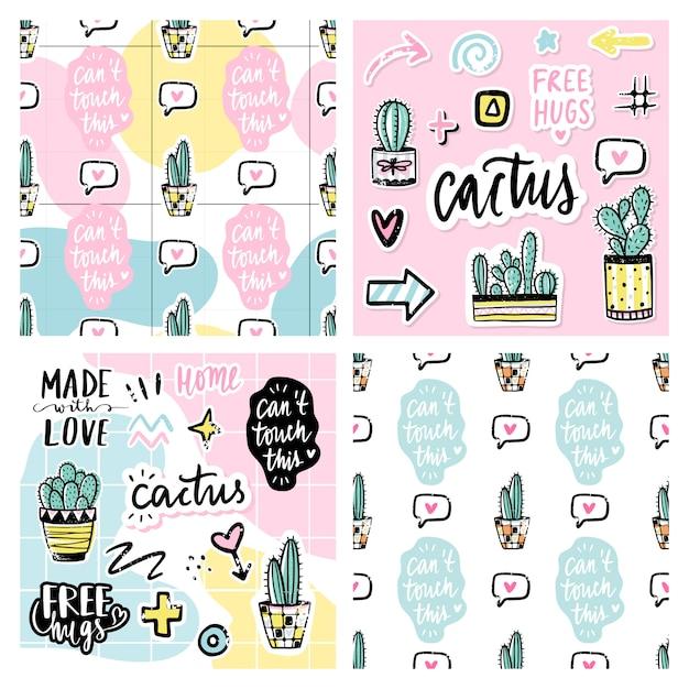 Set van naadloze patronen met cactussen, positieve zinnen, elementen. Premium Vector
