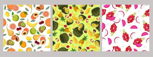 Set van naadloze patronen met fruit Premium Vector