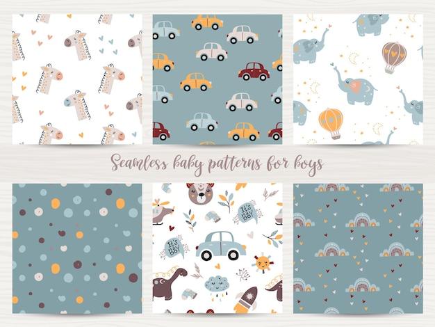 Set van naadloze patronen voor babyjongens. illustratie voor inpakpapier en scrapbooking Premium Vector