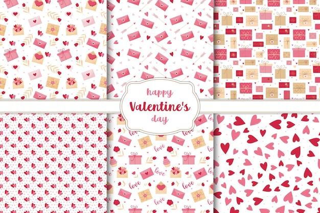 Set van naadloze patronen voor valentijnsdag. harten, bloemen, brieven en geschenken op een witte achtergrond. Premium Vector