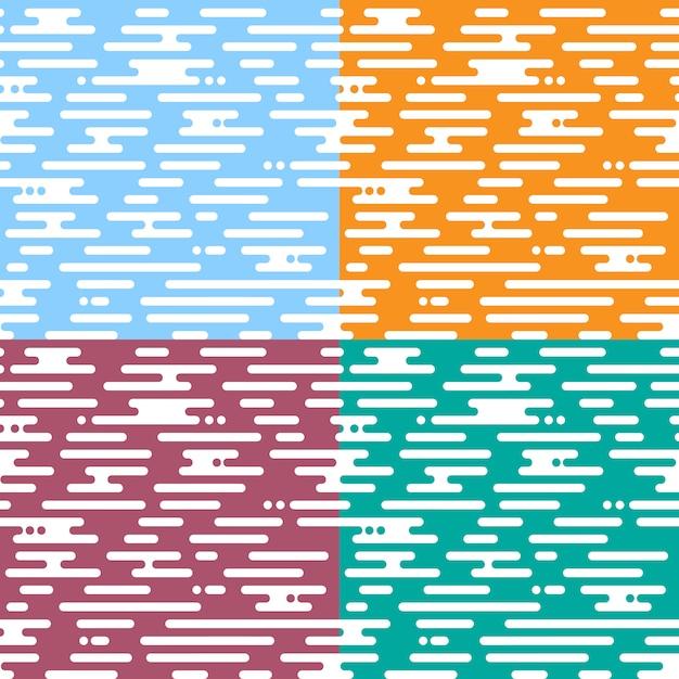 Set van naadloze patroon beweging onregelmatige afgeronde lijnen Premium Vector