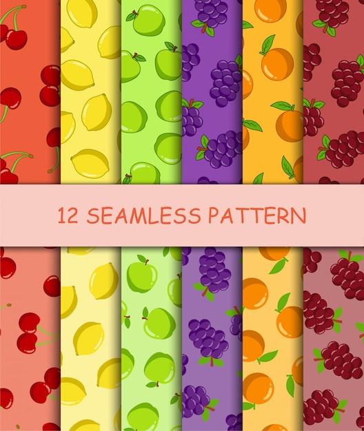 Set van naadloze patroon met fruit Premium Vector
