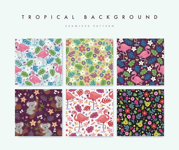Set van naadloze patroon met tropische vogels, dieren en bloemen Premium Vector