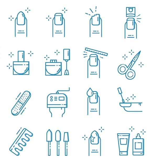 Set van nagel salon pictogrammen met kaderstijl Premium Vector