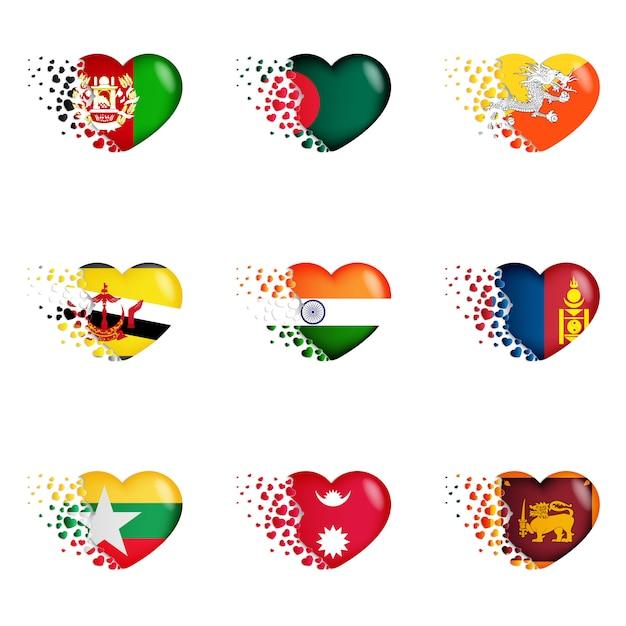 Set van nationale vlaggen met fly-out kleine harten Premium Vector