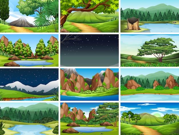 Set van natuur achtergrond Gratis Vector