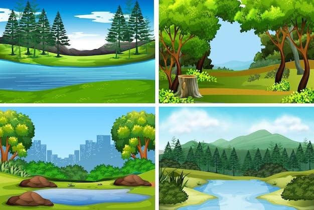 Set van natuur achtergronden Gratis Vector