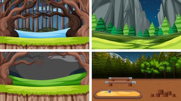 Set van natuur landschap-achtergrond Gratis Vector