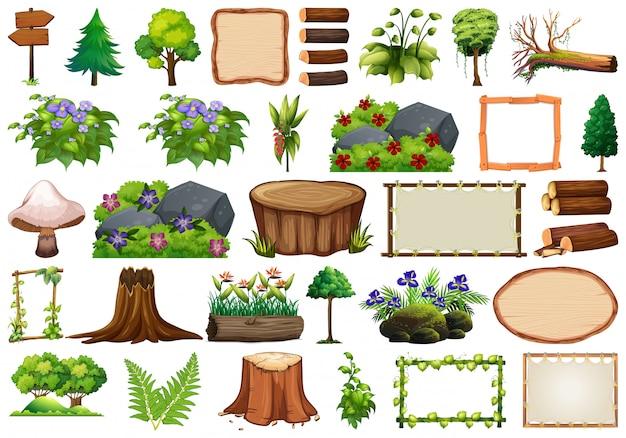 Set van natuurelement voor decor Gratis Vector