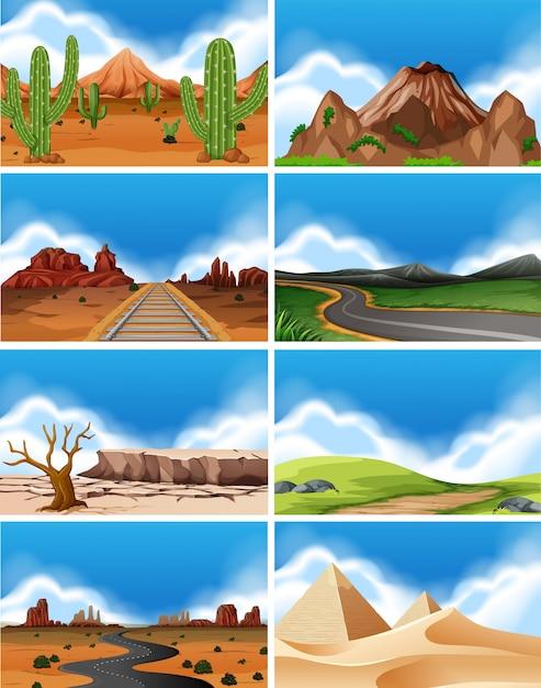Set van natuurlandschap Premium Vector