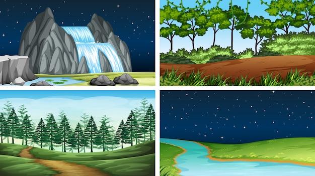 Set van natuurlandschap Gratis Vector