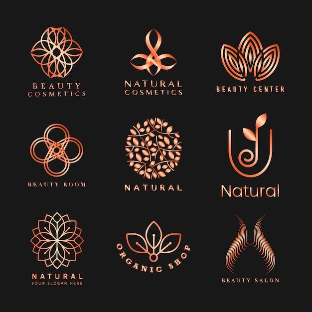 Set van natuurlijke cosmetica logo vector Gratis Vector