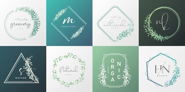 Set van natuurlijke en biologische logo voor branding, huisstijl, verpakking en visitekaartje. Gratis Vector
