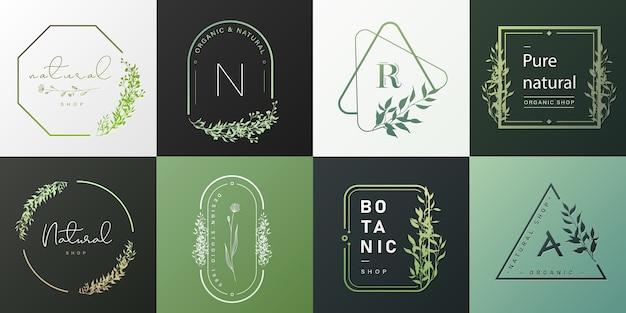Set van natuurlijke en biologische logo voor branding, huisstijl. Gratis Vector