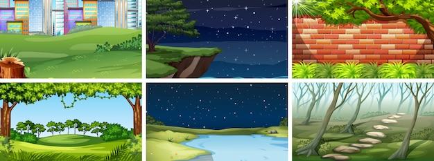 Set van natuurscènes of achtergrond dag en nacht Gratis Vector