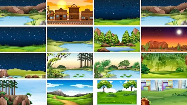 Set van natuurtaferelen of achtergrond in dag en nacht Gratis Vector