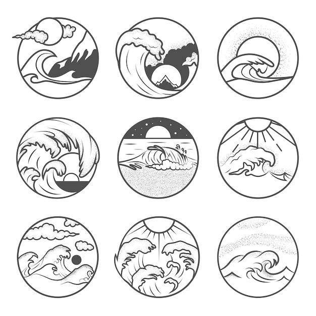 Set van negen emblemen voor de zomervakantie. labels met zon, golven en zand. strand emblemen. zomervakantie, surfen Premium Vector