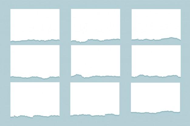 Set van negen gescheurde vellen papier Gratis Vector