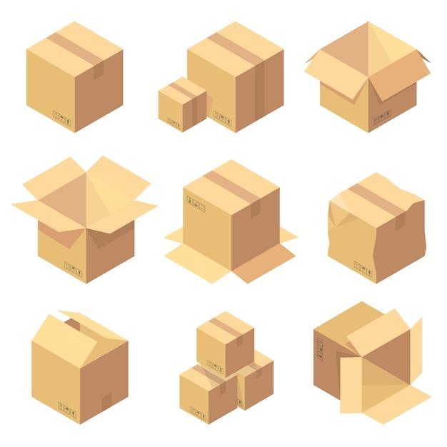 Set van negen isometrische kartonnen dozen geïsoleerd op wit Premium Vector
