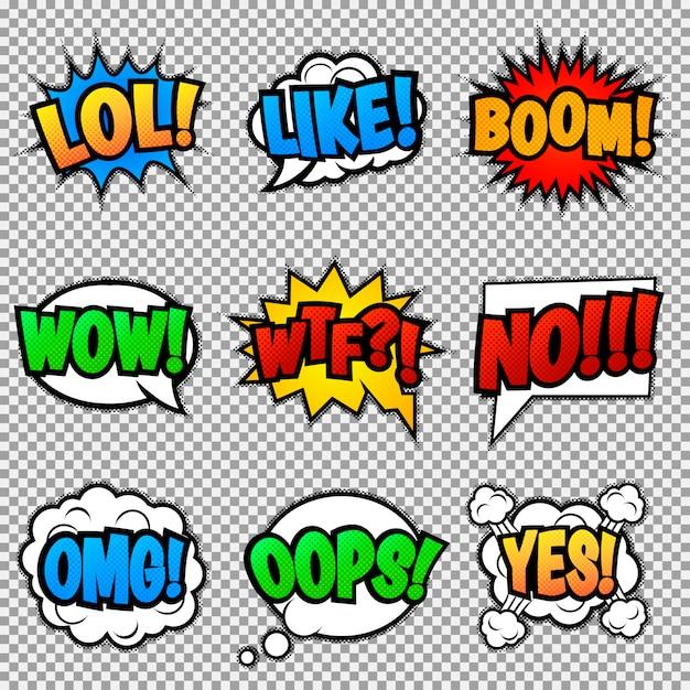 Set van negen verschillende, kleurrijke stickers op kleurrijke strip. pop-art tekstballonnen met lol, like, boom, wow, wtf, no, omg, oops, yes. Premium Vector
