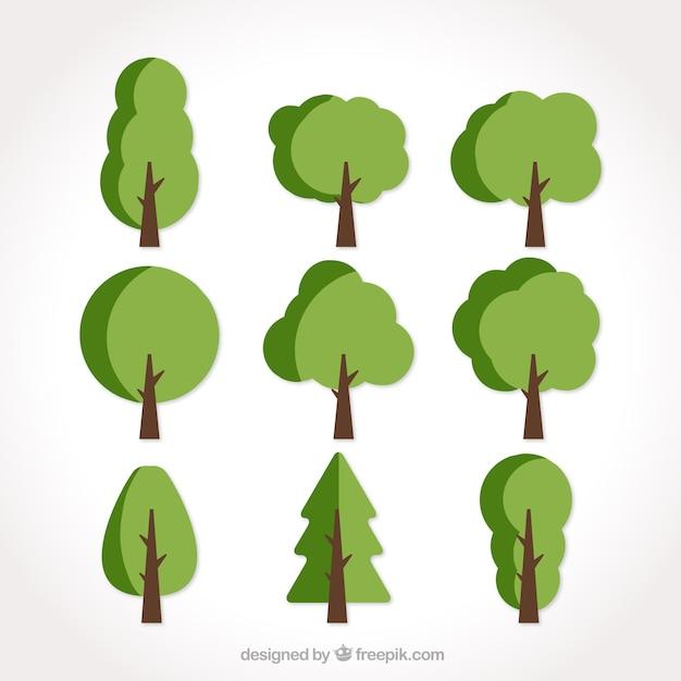 Set van negen vlakke bomen in groene tinten Gratis Vector