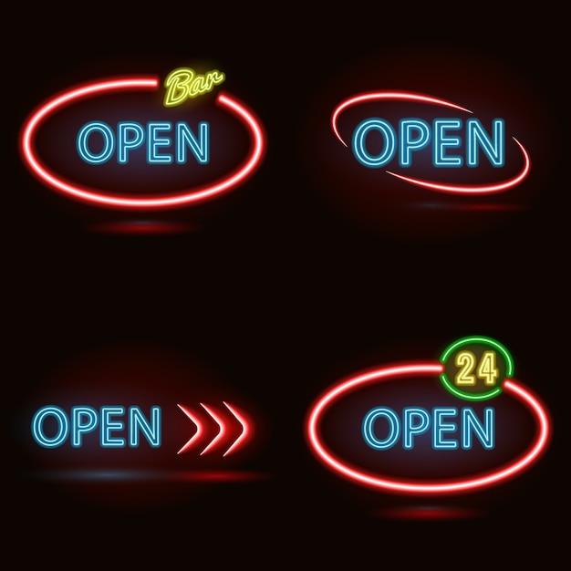 Set van neonreclames open gemaakt in rode en blauwe kleuren Premium Vector