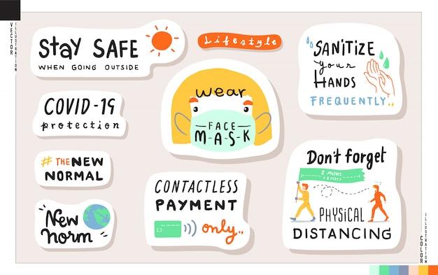 Set van nieuwe normale levensstijl belettering stickers. concept van nieuwe levensstijl bij het naar huis gaan. illustratie voor web, print, plakboek, kaart, etc. gezondheidszorg, coronavirus covid-19 bescherming. Premium Vector