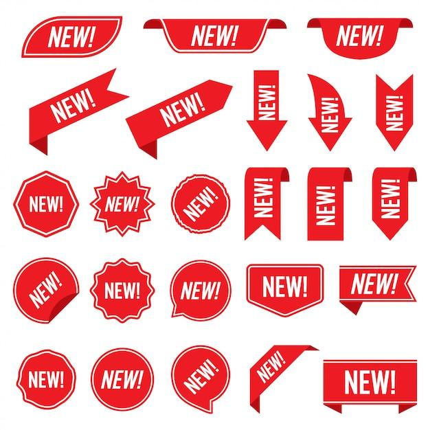 Set van nieuwe rode etiketten geïsoleerd op een witte achtergrond Premium Vector