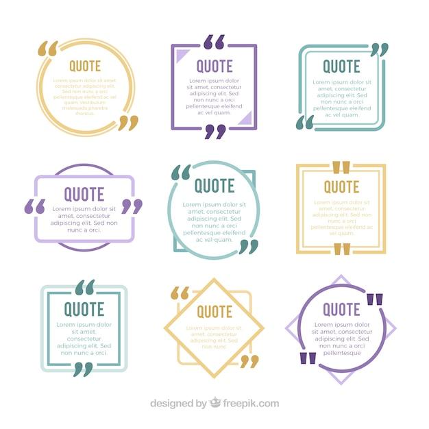 Set van nieuwe stijl citaten met geometrische figuren Gratis Vector