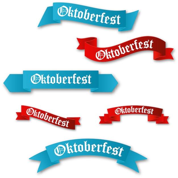 Set van oktoberfest rode en blauwe linten Premium Vector