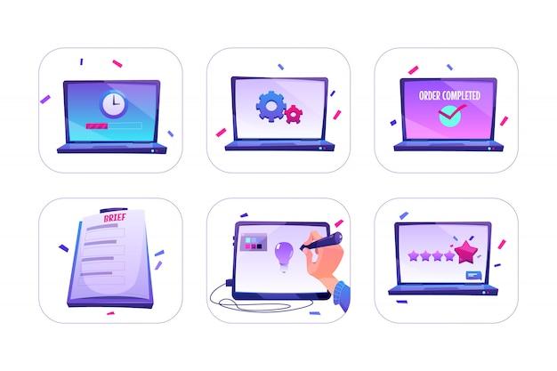 Set van online bestelling, ontwerper maakt idee op grafisch tablet, beoordeling of feedback van klanten met vijf sterren op laptopscherm, werkproces. Gratis Vector